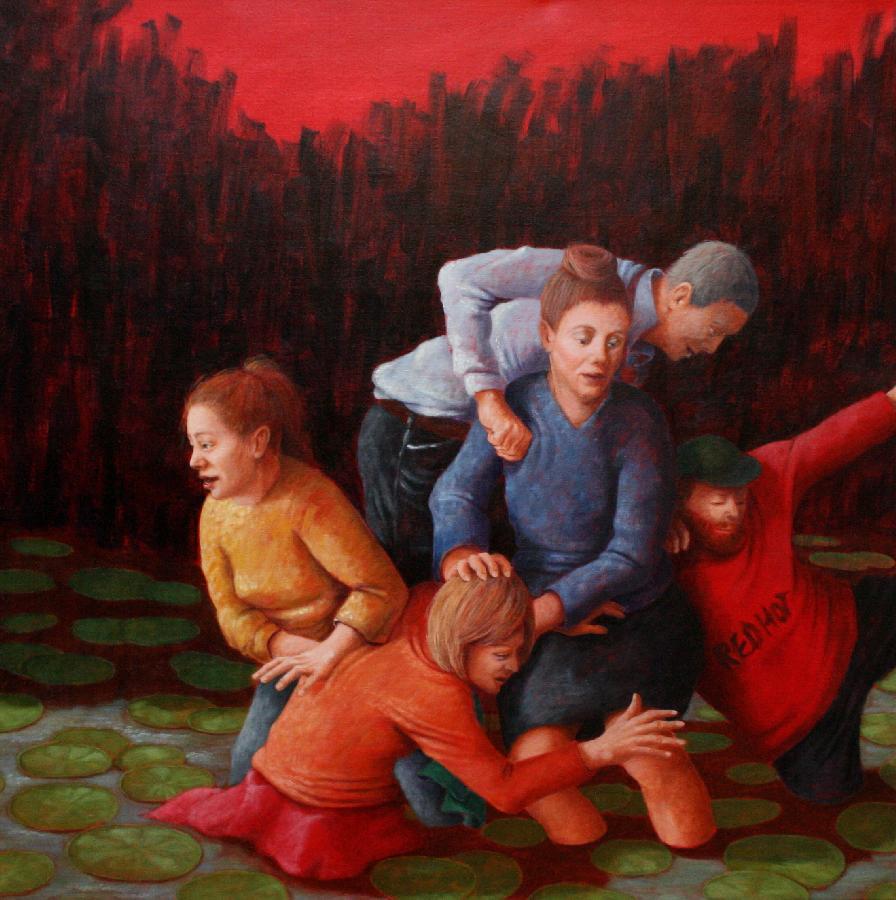 Gruppe 2 / 2016, 100 x 100 cm, Acryl auf Leinwand